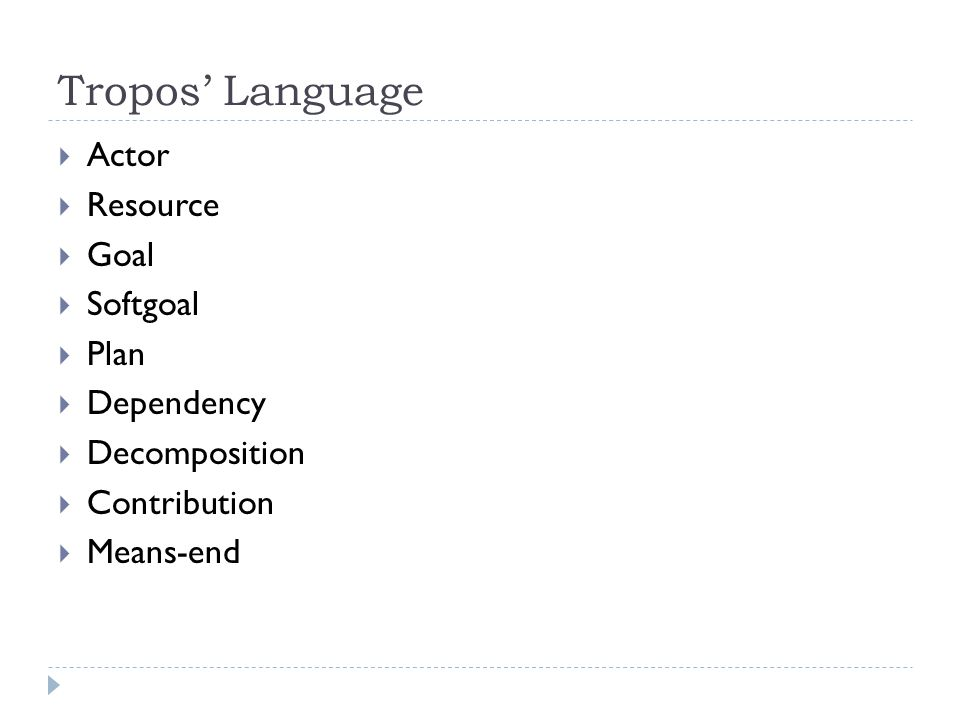 Tropos' Language  Actor  Resource  Goal  Softgoal  Plan  Dependency  Decomposition  Contribution  Means-end