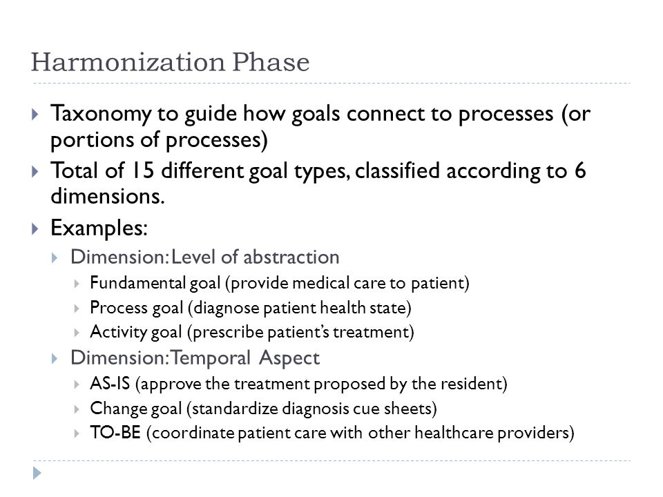 Harmonization Phase  Taxonomy to guide how goals connect to processes (or portions of processes)  Total of 15 different goal types, classified according to 6 dimensions.