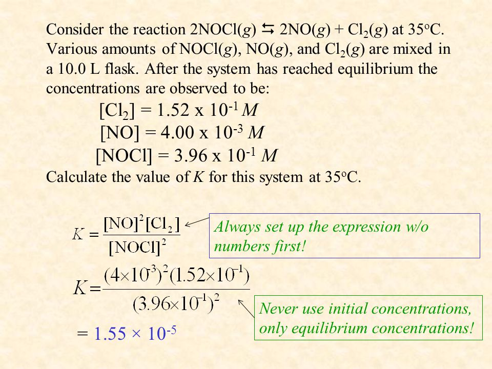 Consider the reaction 2NOCl(g)  2NO(g) + Cl 2 (g) at 35 o C.