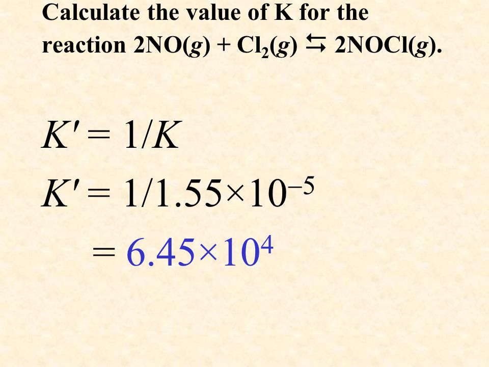 Calculate the value of K for the reaction 2NO(g) + Cl 2 (g)  2NOCl(g).