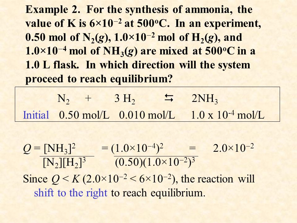 Example 2. For the synthesis of ammonia, the value of K is 6×10  2 at 500 o C.