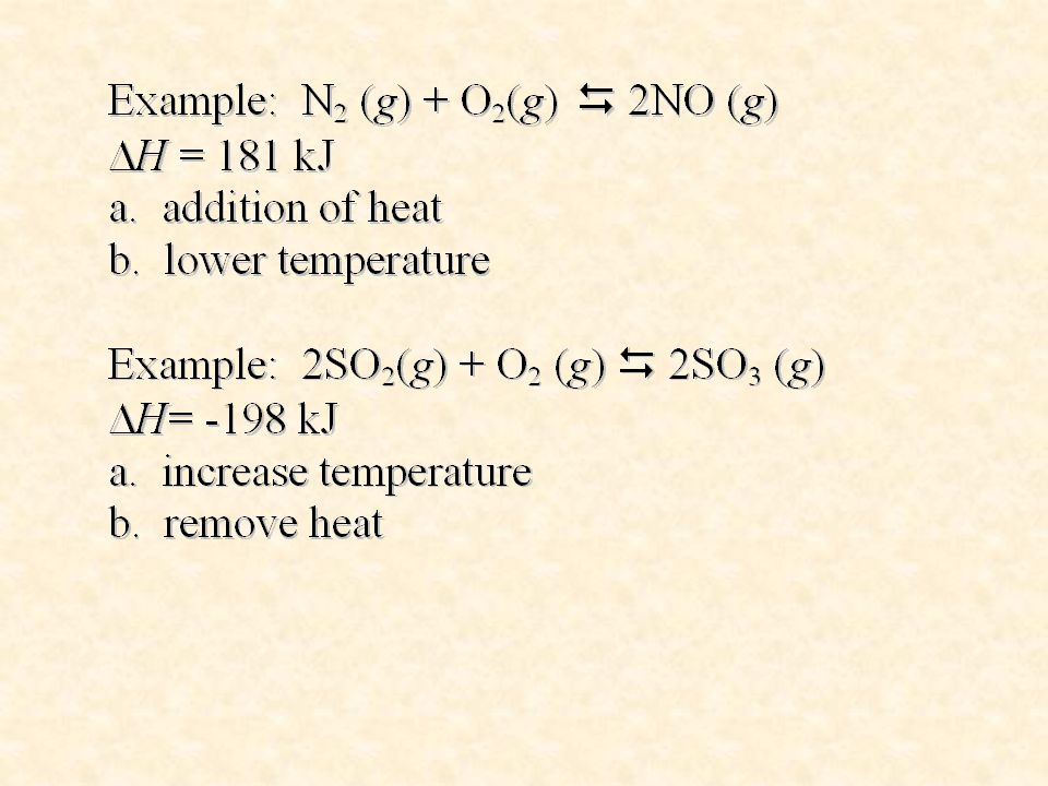 Changes in pressure Changes in pressure only affect equilibrium systems having gaseous products and/or reactants.