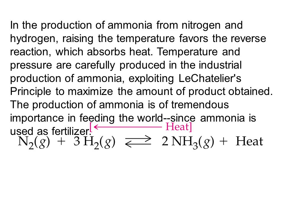 In the production of ammonia from nitrogen and hydrogen, raising the temperature favors the reverse reaction, which absorbs heat.