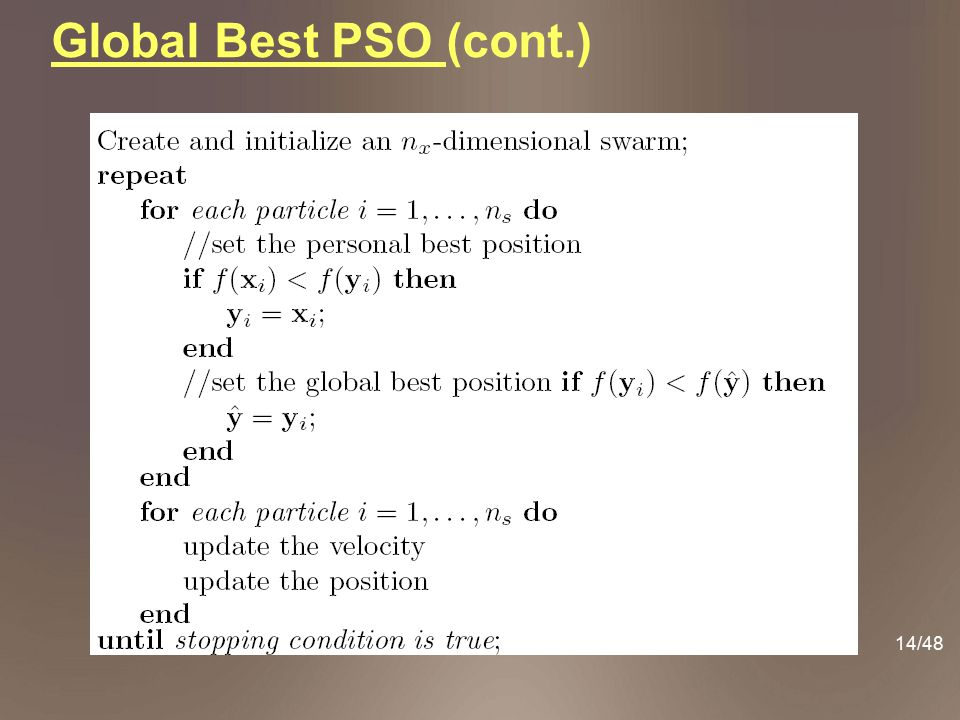14/48 Global Best PSO (cont.)