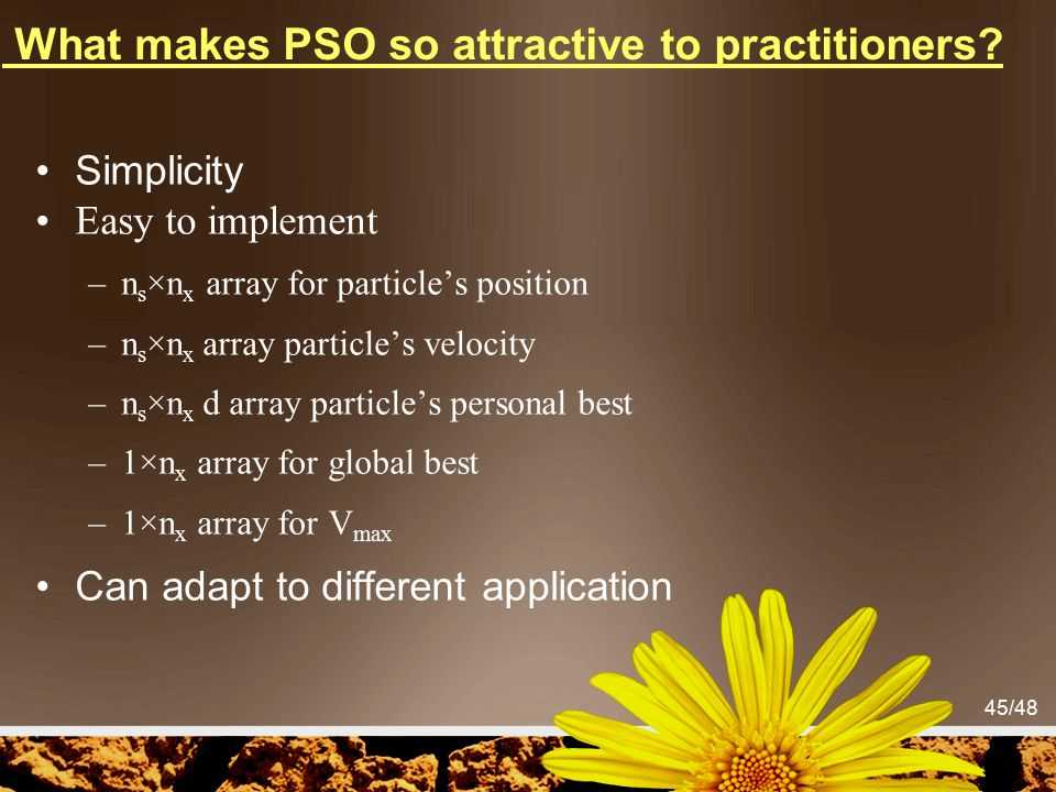 45/48 What makes PSO so attractive to practitioners? Simplicity Easy to implement –n s ×n x array for particle's position –n s ×n x array particle's v
