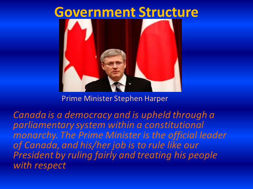 Government Structure Canada is a democracy and is upheld through a parliamentary system within a constitutional monarchy. The Prime Minister is the of