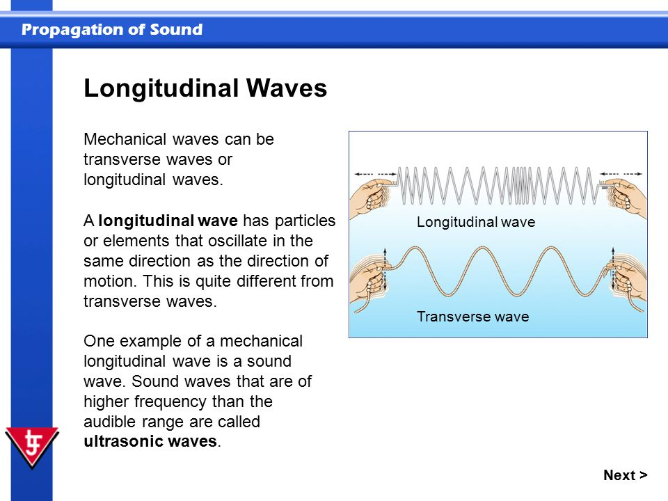 Propagation of Sound Next > Longitudinal Waves Mechanical waves can be transverse waves or longitudinal waves. One example of a mechanical longitudina