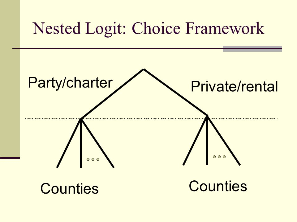 Nested Logit: Choice Framework Party/charter Private/rental Counties