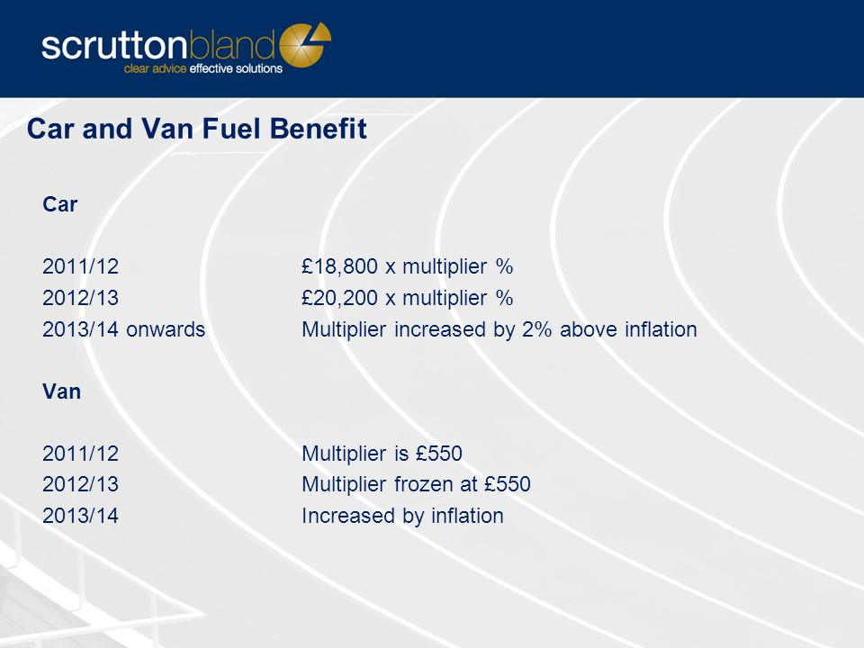 Car and Van Fuel Benefit Car 2011/12£18,800 x multiplier % 2012/13£20,200 x multiplier % 2013/14 onwardsMultiplier increased by 2% above inflation Van 2011/12Multiplier is £550 2012/13Multiplier frozen at £550 2013/14Increased by inflation