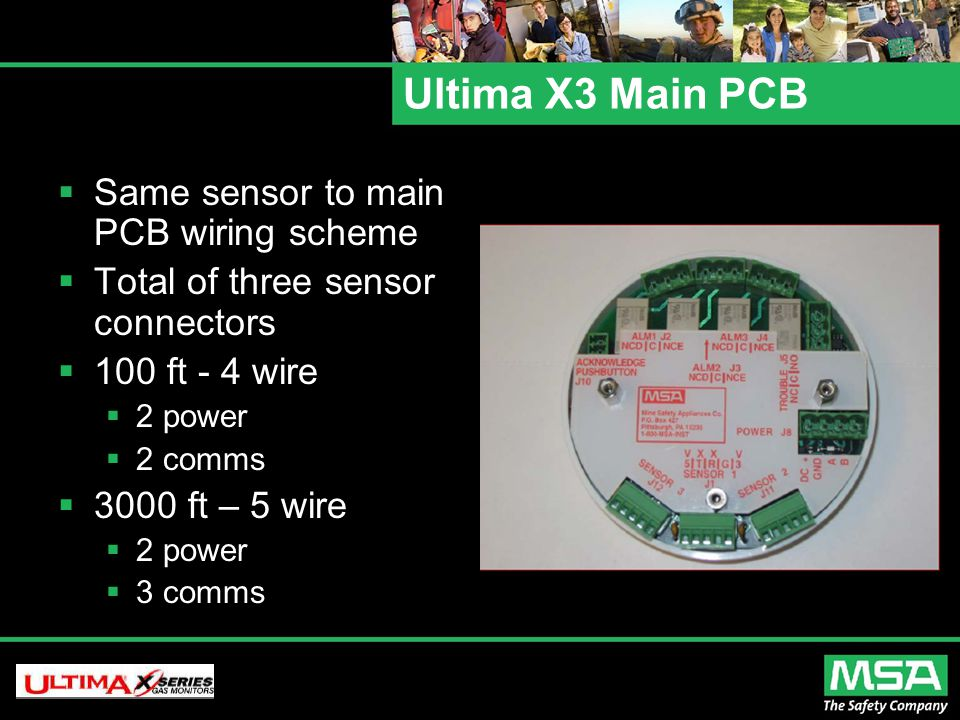 Ultima X3 Main PCB  Same sensor to main PCB wiring scheme  Total of three sensor connectors  100 ft - 4 wire  2 power  2 comms  3000 ft – 5 wire  2 power  3 comms