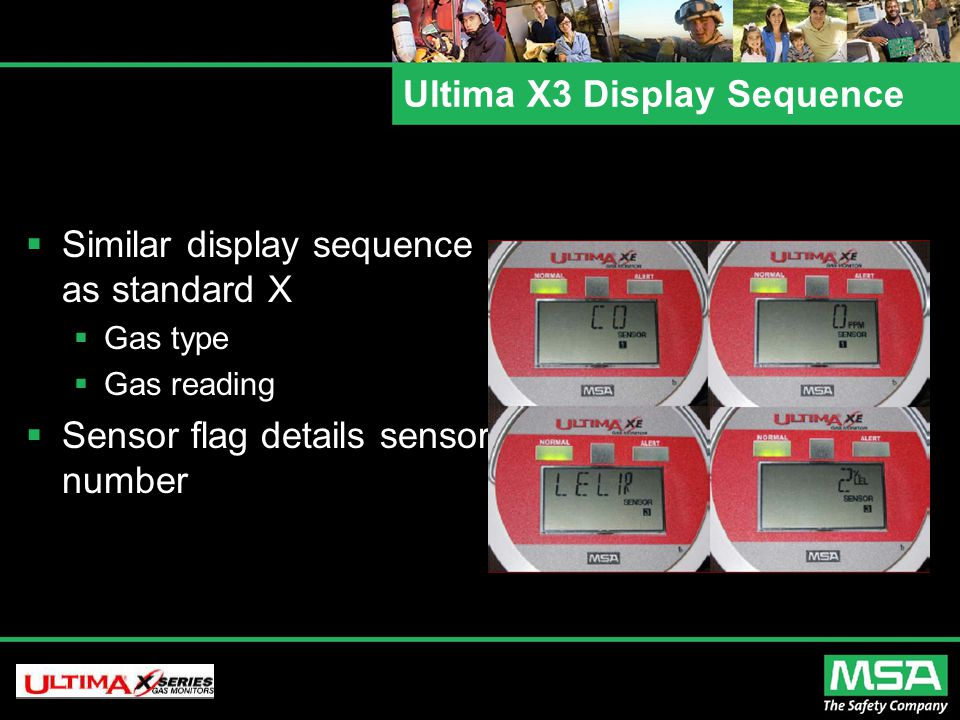 Ultima X3 Display Sequence  Similar display sequence as standard X  Gas type  Gas reading  Sensor flag details sensor number