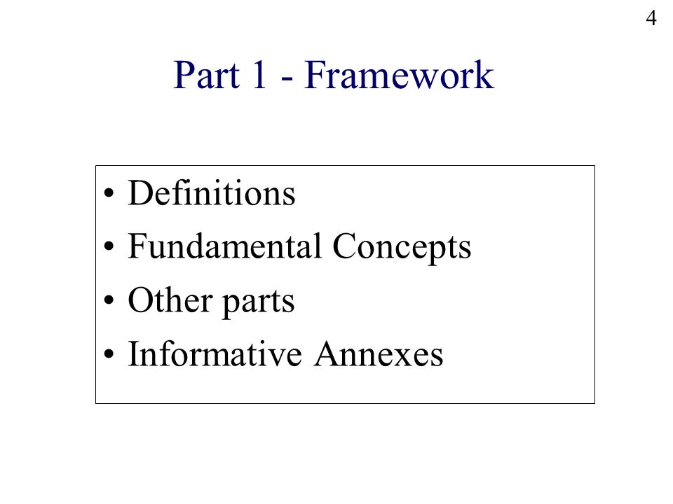 4 Definitions Fundamental Concepts Other parts Informative Annexes Part 1 - Framework