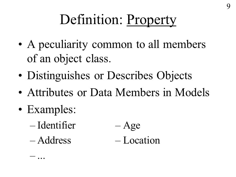 10 Definition: Representation The combination of –a representation class, –a value domain, –a datatype, –a unit of measure (if necessary) –a character set (if necessary)