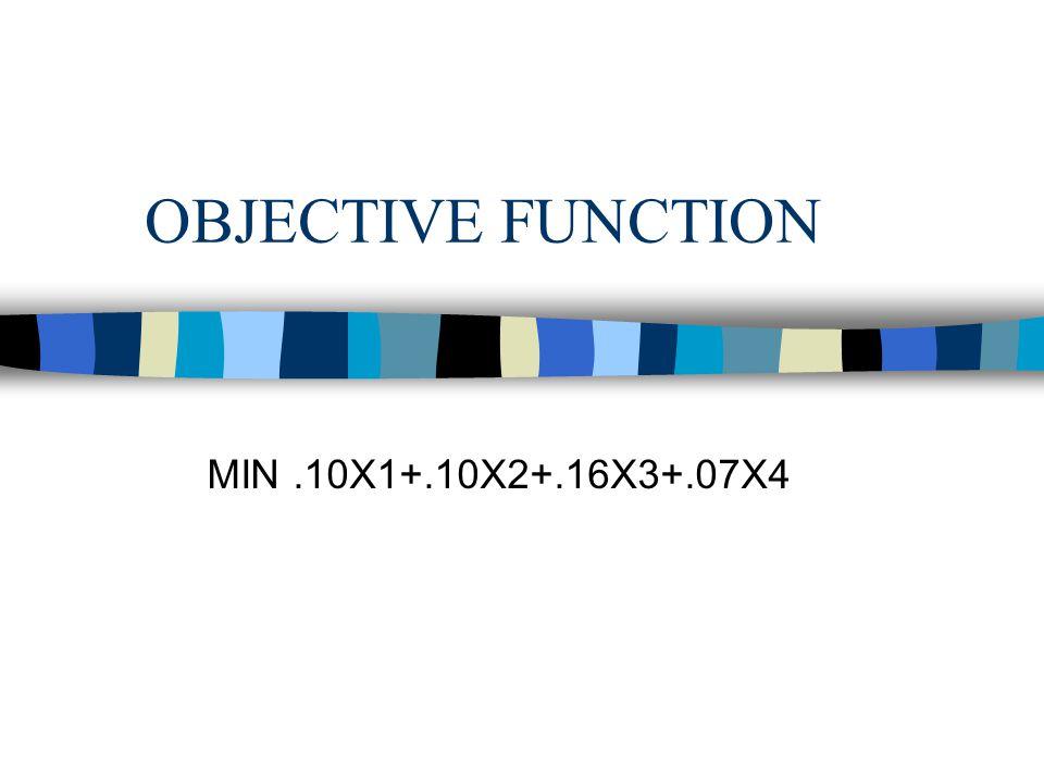 OBJECTIVE FUNCTION MIN.10X1+.10X2+.16X3+.07X4