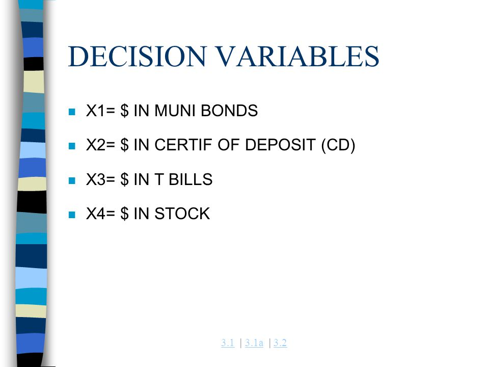 3.13.1 | 3.1a | 3.23.1a3.2 DECISION VARIABLES n X1= $ IN MUNI BONDS n X2= $ IN CERTIF OF DEPOSIT (CD) n X3= $ IN T BILLS n X4= $ IN STOCK