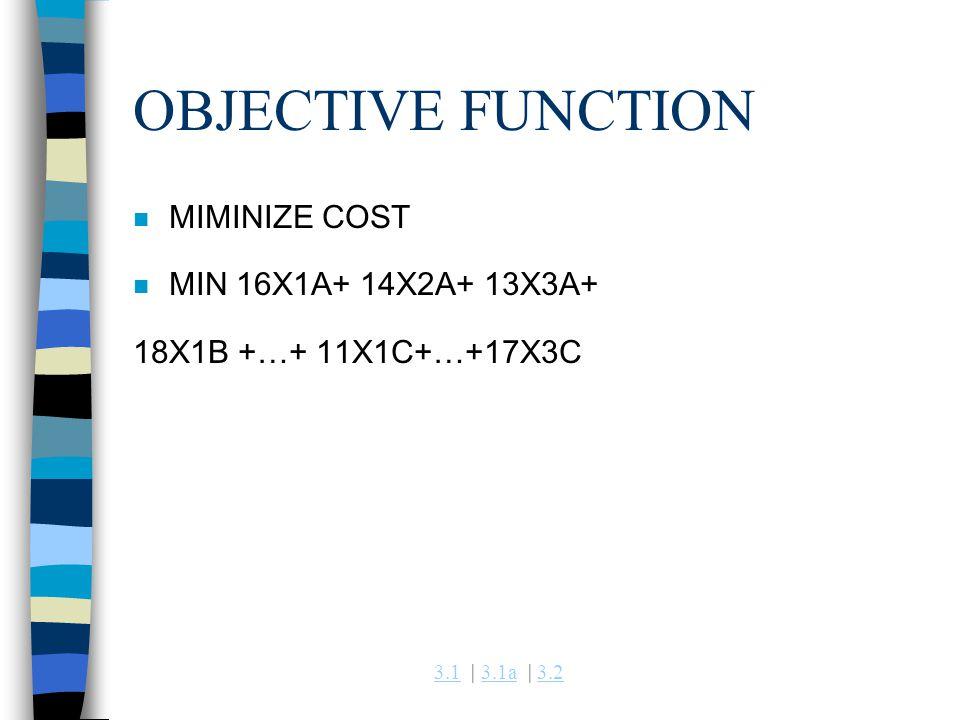 3.13.1 | 3.1a | 3.23.1a3.2 OBJECTIVE FUNCTION n MIMINIZE COST n MIN 16X1A+ 14X2A+ 13X3A+ 18X1B +…+ 11X1C+…+17X3C