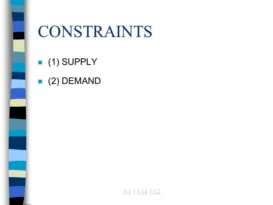 3.13.1 | 3.1a | 3.23.1a3.2 CONSTRAINTS n (1) SUPPLY n (2) DEMAND