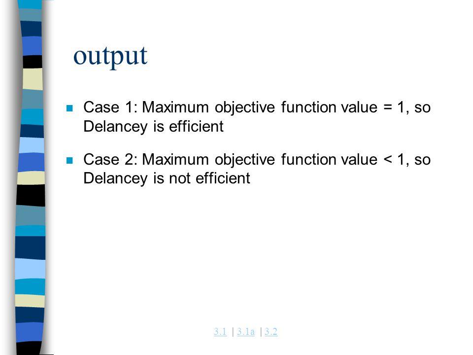 3.13.1 | 3.1a | 3.23.1a3.2 output n Case 1: Maximum objective function value = 1, so Delancey is efficient n Case 2: Maximum objective function value