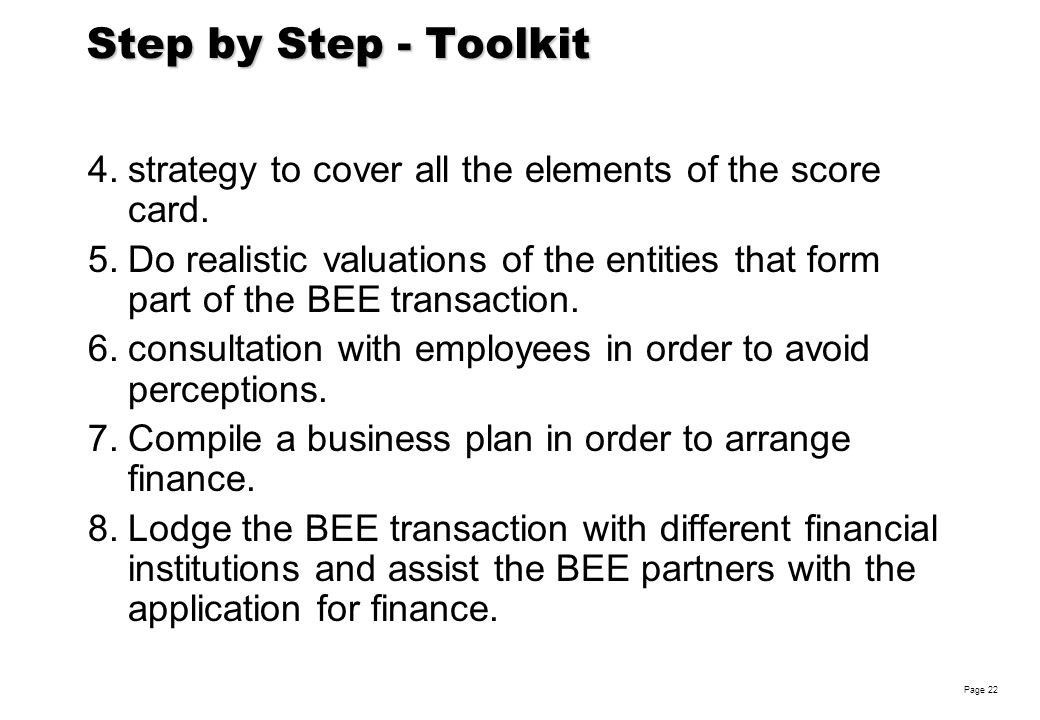 Robin Woolley Page 22 Step by Step - Toolkit 4.strategy to cover all the elements of the score card.