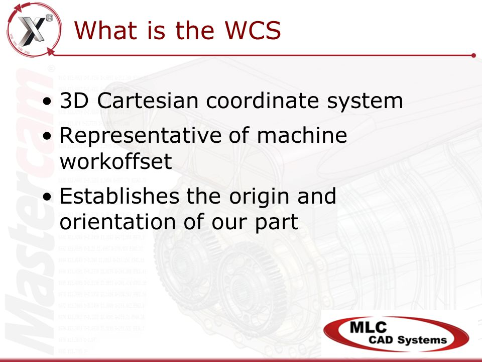 What is the WCS 3D Cartesian coordinate system Representative of machine workoffset Establishes the origin and orientation of our part
