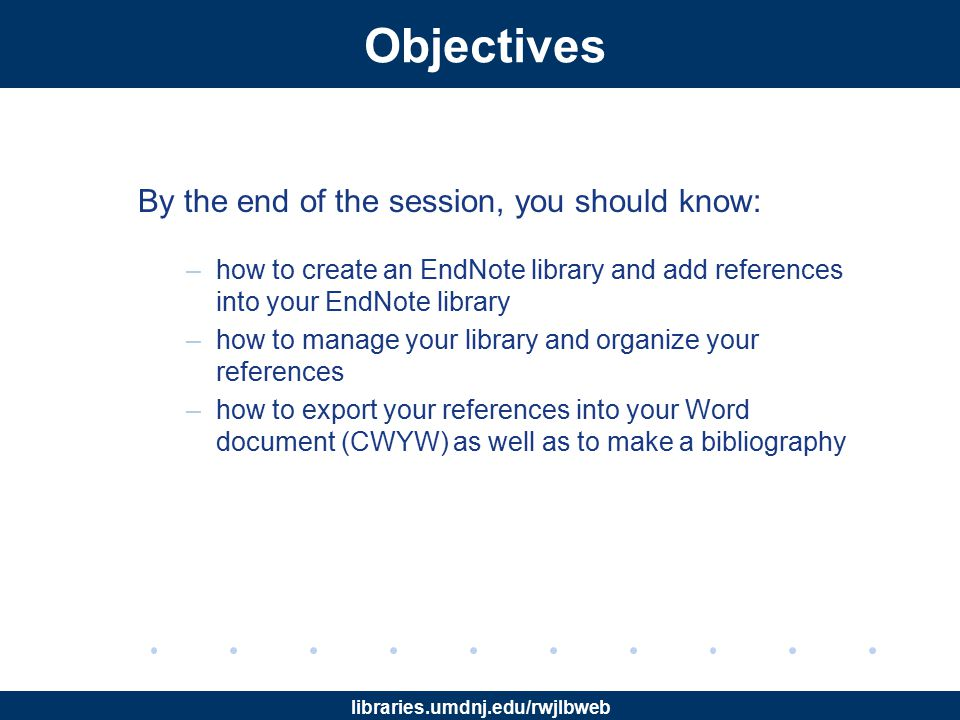 libraries.umdnj.edu/rwjlbweb Cite While You Write (CWYW) Clicking Insert Citation , a pop-up box will appear allowing you to find the desired citation to insert in the Word document.
