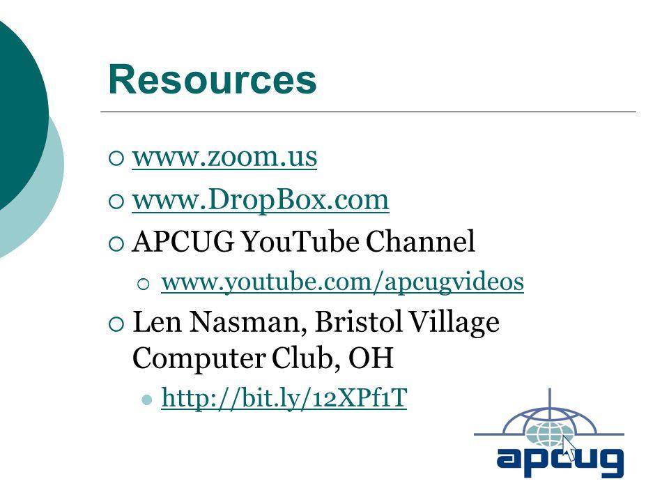 Resources  www.zoom.us www.zoom.us  www.DropBox.com www.DropBox.com  APCUG YouTube Channel  www.youtube.com/apcugvideos www.youtube.com/apcugvideo