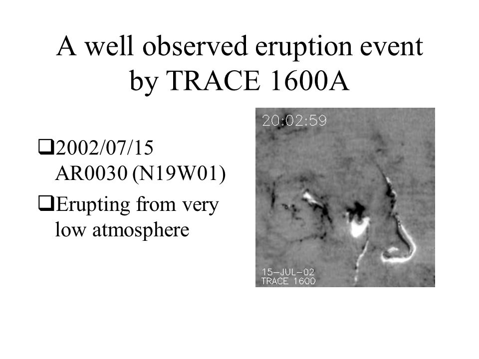 A well observed eruption event by TRACE 1600A  2002/07/15 AR0030 (N19W01)  Erupting from very low atmosphere