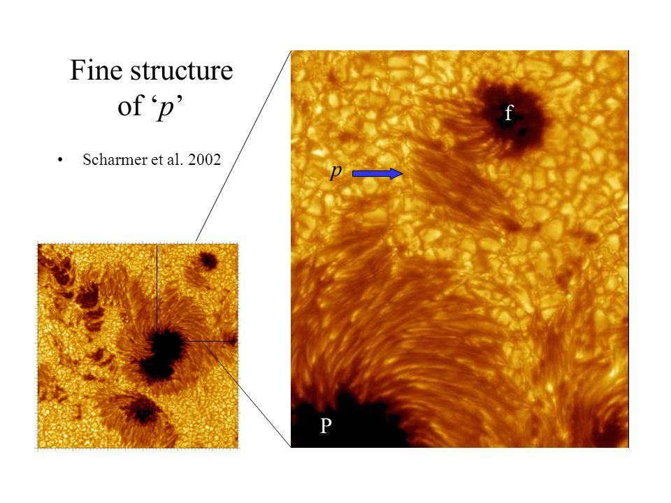 Fine structure of 'p' Scharmer et al. 2002 p f P