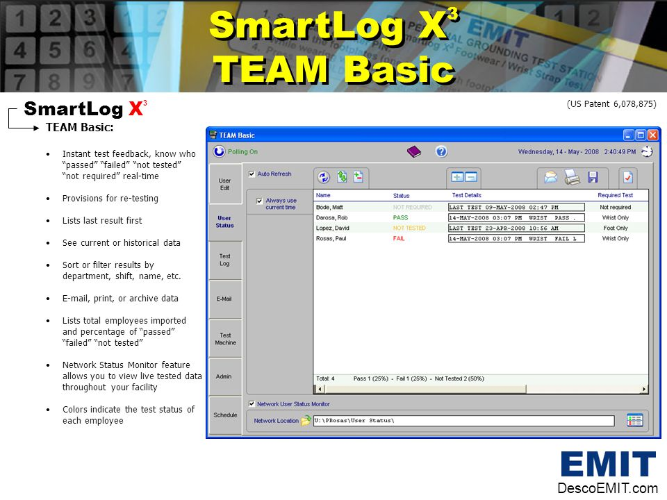 "SmartLog X 3 TEAM Basic: Instant test feedback, know who ""passed"" ""failed"" ""not tested"" ""not required"" real-time Provisions for re-testing Lists last"