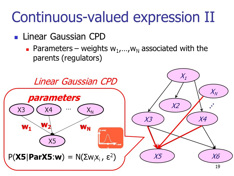 Continuous-valued expression II Linear Gaussian CPD Parameters – weights w 1,…,w N associated with the parents (regulators) X1X1 X3 X4 X5X6 X2 Linear