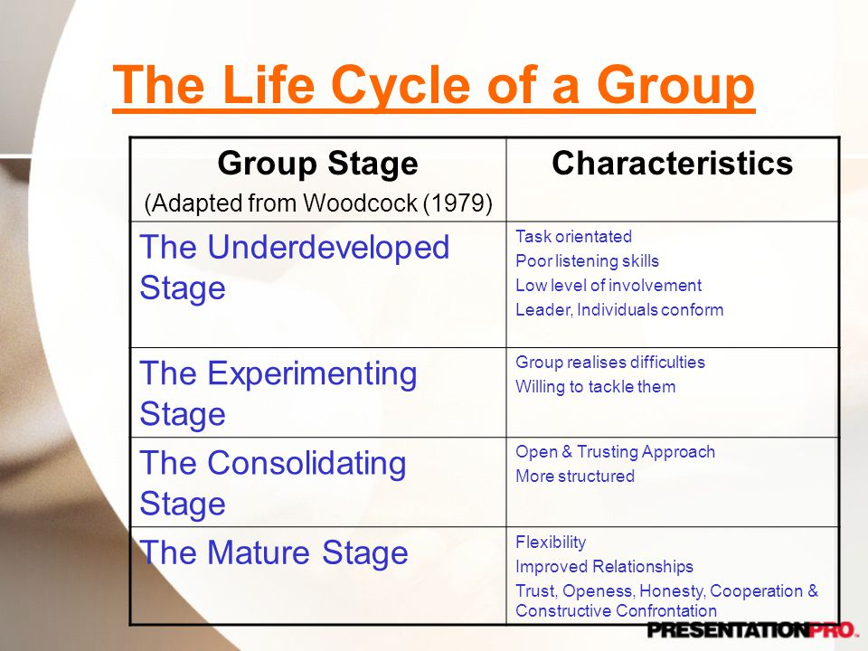 The Life Cycle of a Group Group Stage (Adapted from Woodcock (1979) Characteristics The Underdeveloped Stage Task orientated Poor listening skills Low level of involvement Leader, Individuals conform The Experimenting Stage Group realises difficulties Willing to tackle them The Consolidating Stage Open & Trusting Approach More structured The Mature Stage Flexibility Improved Relationships Trust, Openess, Honesty, Cooperation & Constructive Confrontation