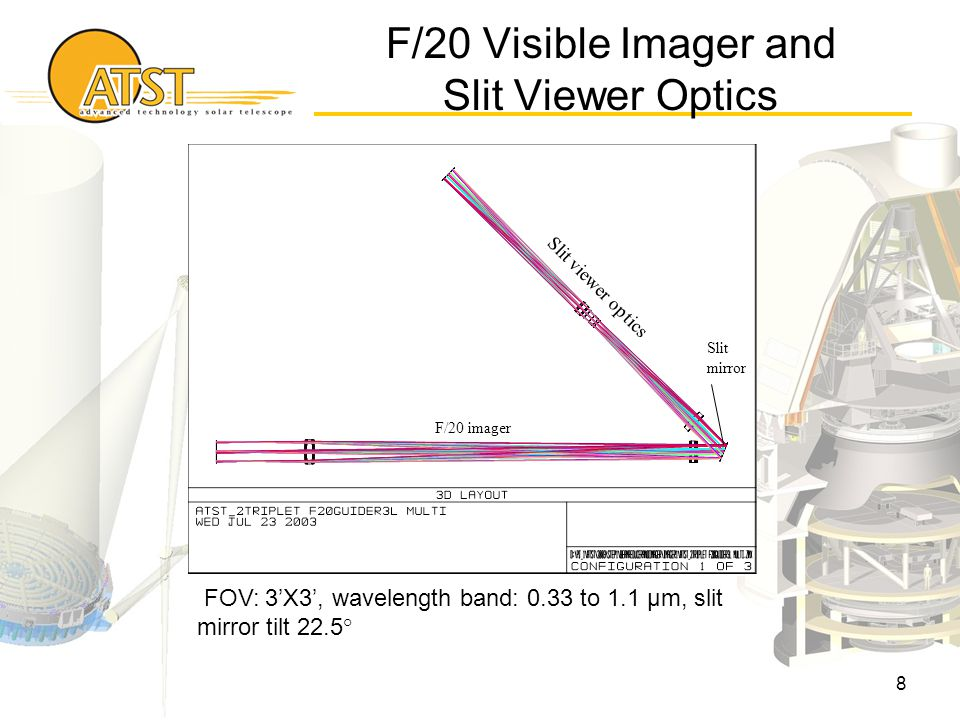 8 FOV: 3'X3', wavelength band: 0.33 to 1.1 μm, slit mirror tilt 22.5° Slit mirror Slit viewer optics F/20 imager F/20 Visible Imager and Slit Viewer Optics