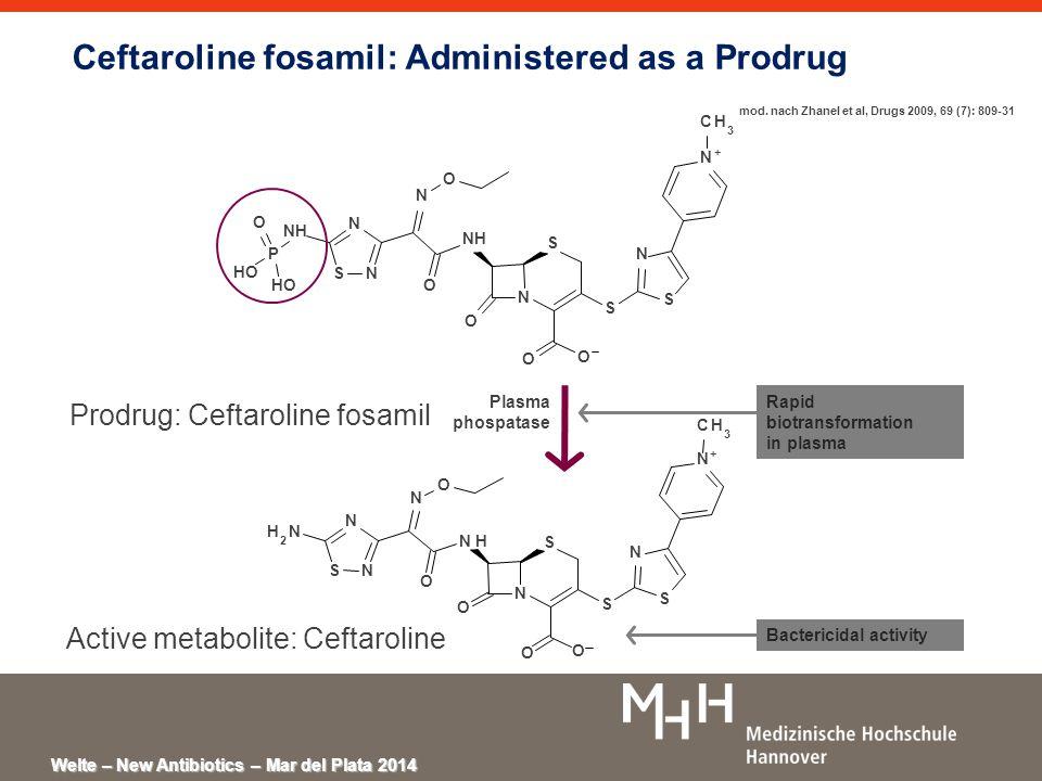 Welte – New Antibiotics – Mar del Plata 2014 Ceftaroline fosamil: Administered as a Prodrug N S O S N N + O O NH N SN N O P HO O S CH 3 O N S S N N + O O N H N SN NH 2 N O S CH 3 O O Prodrug: Ceftaroline fosamil Active metabolite: Ceftaroline Plasma phospatase Rapid biotransformation in plasma Bactericidal activity mod.