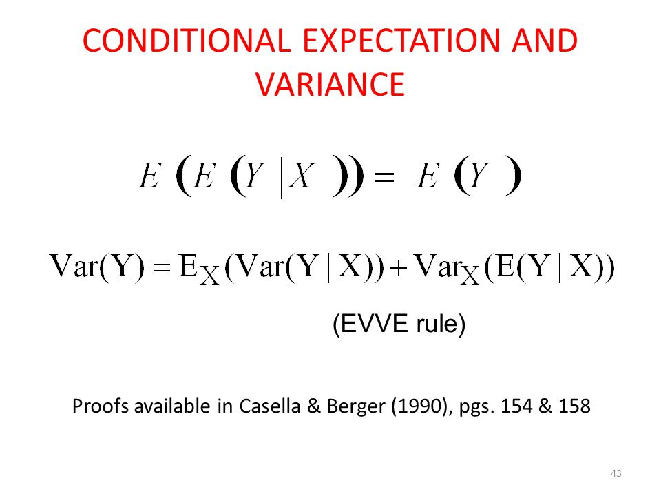 CONDITIONAL EXPECTATION AND VARIANCE 43 (EVVE rule) Proofs available in Casella & Berger (1990), pgs.