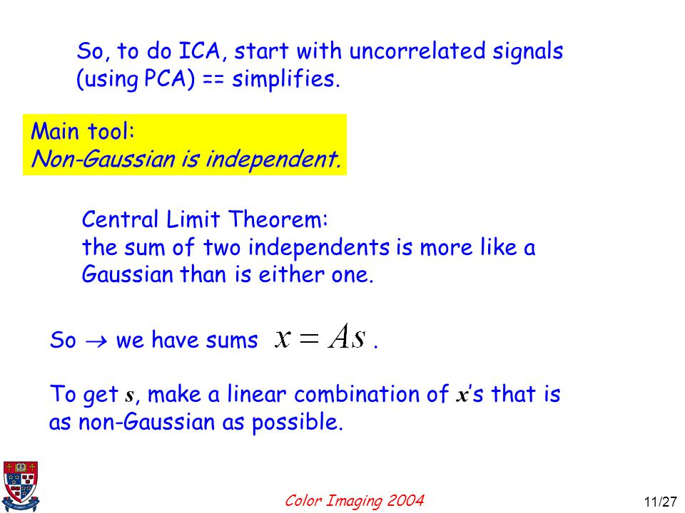 Color Imaging 2004 11 11/27 So, to do ICA, start with uncorrelated signals (using PCA) == simplifies.