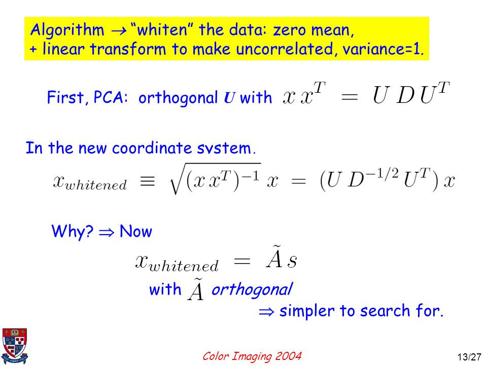 Color Imaging 2004 13 13/27 Algorithm  whiten the data: zero mean, + linear transform to make uncorrelated, variance=1.