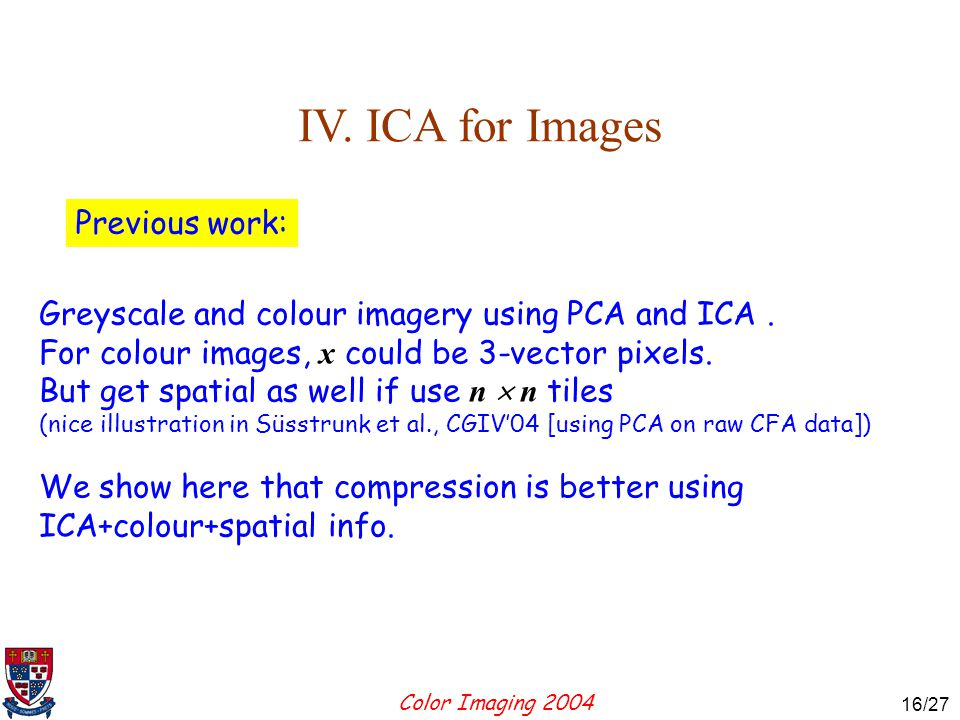 Color Imaging 2004 16 16/27 IV.