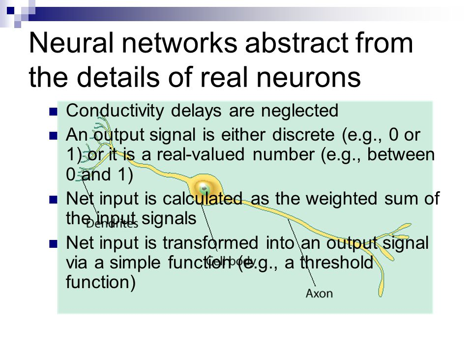 Neural networks abstract from the details of real neurons Conductivity delays are neglected An output signal is either discrete (e.g., 0 or 1) or it is a real-valued number (e.g., between 0 and 1) Net input is calculated as the weighted sum of the input signals Net input is transformed into an output signal via a simple function (e.g., a threshold function)