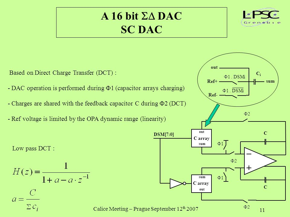 Calice Meeting – Prague September 12 th 2007 11 A 16 bit  DAC SC DAC Based on Direct Charge Transfer (DCT) : - DAC operation is performed during  1 (capacitor arrays charging) - Charges are shared with the feedback capacitor C during  2 (DCT) - Ref voltage is limited by the OPA dynamic range (linearity) Low pass DCT : Ref+ sum out Ref-  1.