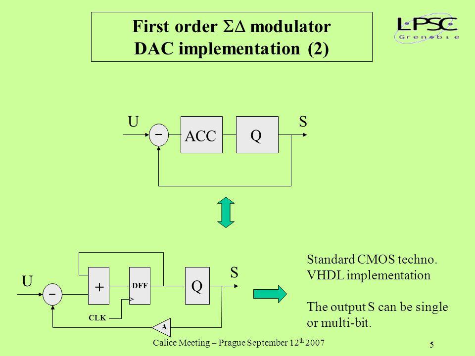 Calice Meeting – Prague September 12 th 2007 5 First order  modulator DAC implementation (2) ACC Q US Q U S + DFF CLK A Standard CMOS techno.