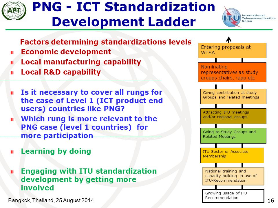 Bangkok, Thailand, 25 August 2014 16 PNG - ICT Standardization Development Ladder Growing usage of ITU Recommendation National training and capacity-b