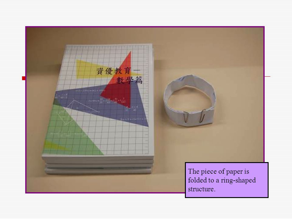 The piece of paper is folded to a ring-shaped structure.