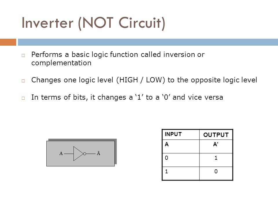 Inverter (NOT Circuit)  Performs a basic logic function called inversion or complementation  Changes one logic level (HIGH / LOW) to the opposite lo