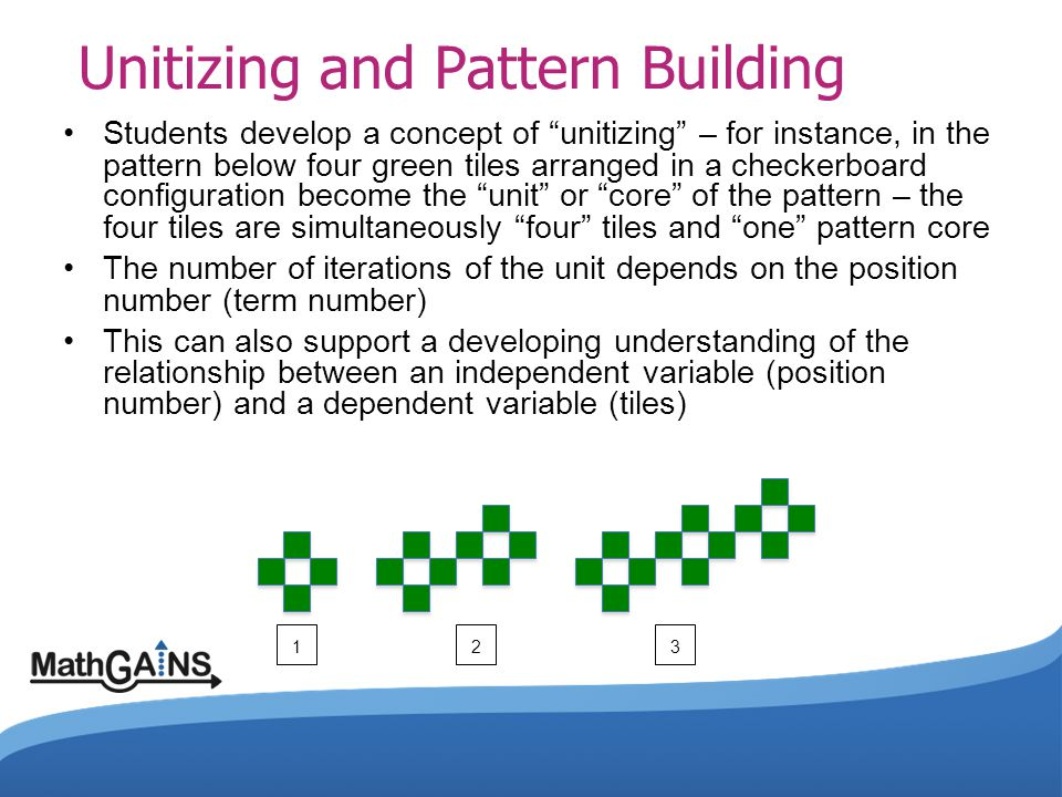 "Unitizing and Pattern Building Students develop a concept of ""unitizing"" – for instance, in the pattern below four green tiles arranged in a checkerbo"