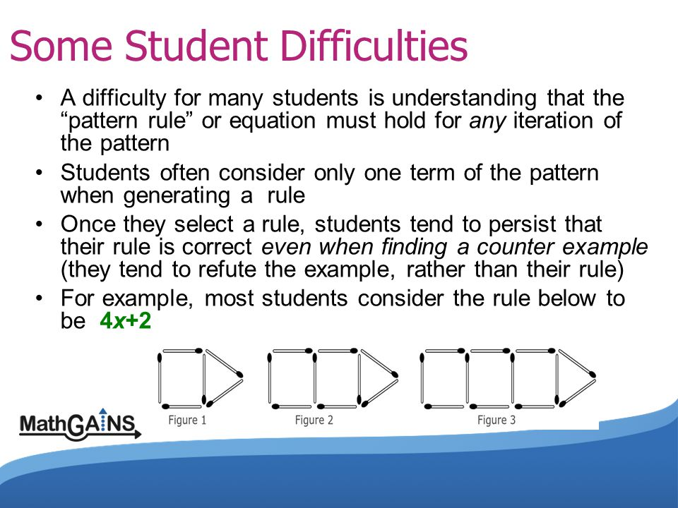 "Some Student Difficulties A difficulty for many students is understanding that the ""pattern rule"" or equation must hold for any iteration of the patte"