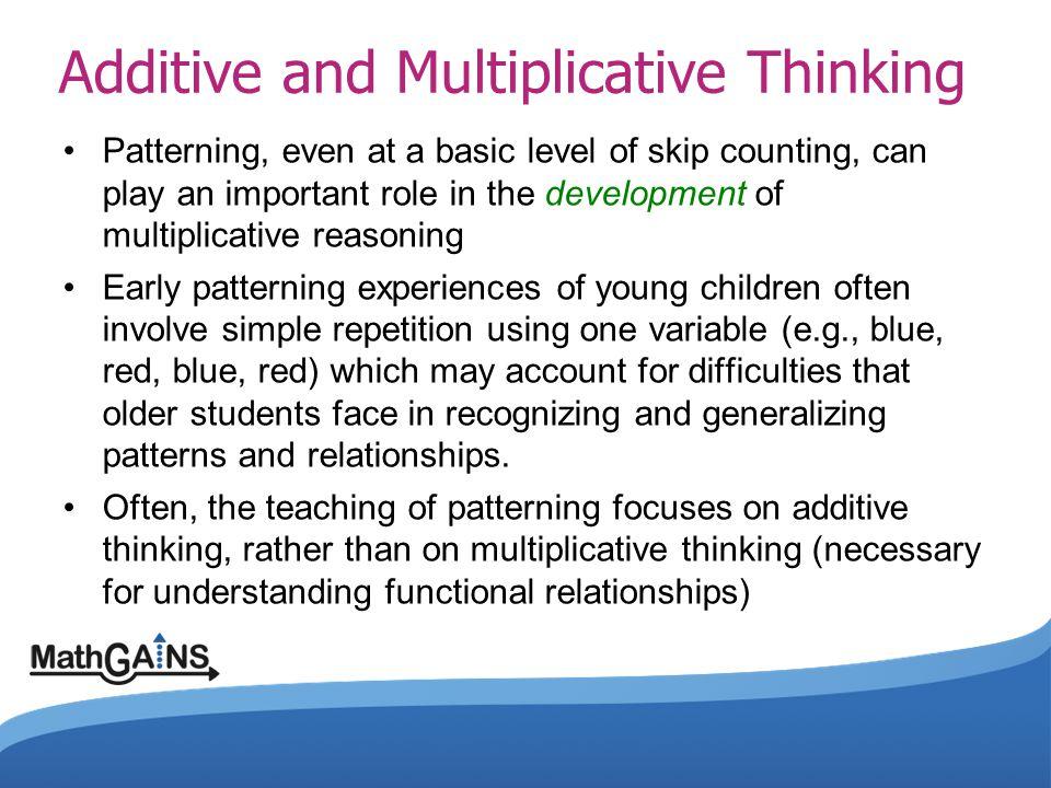 InputOutput 14 27 310 413 516 What is Additive Thinking.