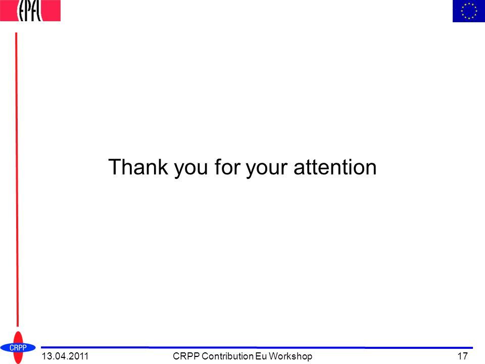 13.04.2011CRPP Contribution Eu Workshop17 Thank you for your attention