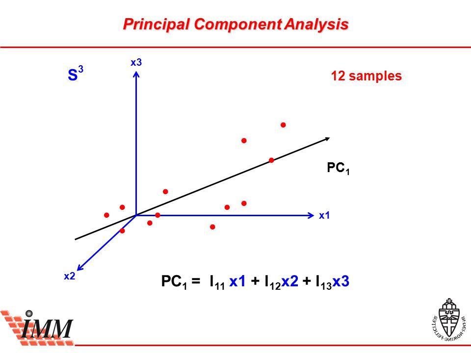 Principal Component Analysis S3S3 12 samples PC 1 PC 1 = l 11 x1 + l 12 x2 + l 13 x3 x3 x1 x2