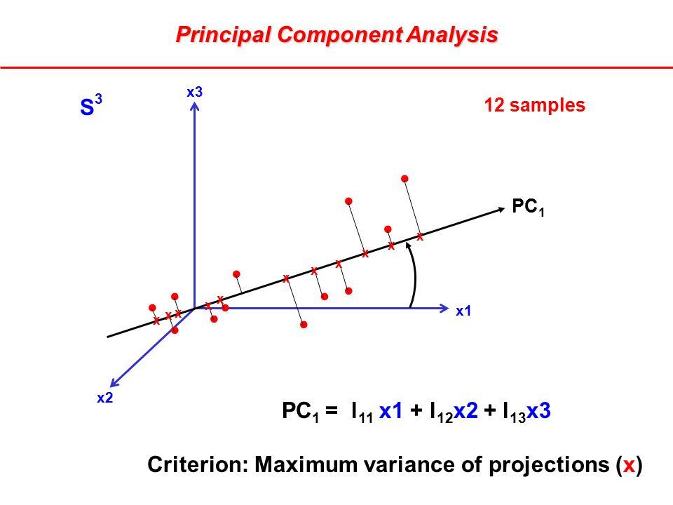 x3 x1 x2 PC 1 PC 1 = l 11 x1 + l 12 x2 + l 13 x3 Criterion: Maximum variance of projections (x) x x x x x x x x x x x S3S3 12 samples Principal Component Analysis