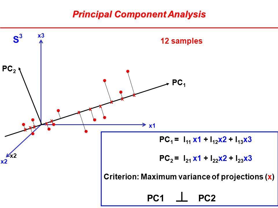 PC 1 = l 11 x1 + l 12 x2 + l 13 x3 PC 2 = l 21 x1 + l 22 x2 + l 23 x3 Criterion: Maximum variance of projections (x) PC1 PC2 x2 x3 x1 x2 PC 1 x x x x x x x x x x x S3S3 12 samples PC 2 Principal Component Analysis